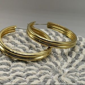 🍁 Vintage HOOPS gold gypsy abstract retro